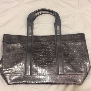 Silver Tory Burch Leather Tote